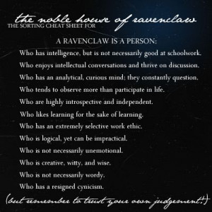 Ravenclaw cheat sheet. Maybe I'm ravenclaw, instead of slytherin. I ...