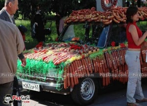 Vegetable Shop in Car Funny