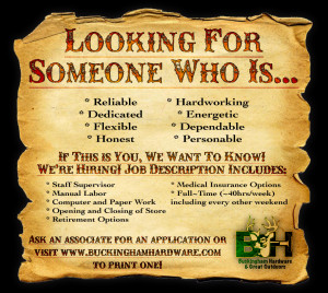Stop In and Ask an Associate for an Application