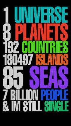 ... Islands, 85 Seas, 7 Billion People, & I'm still single.