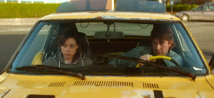 Aubrey Plaza and Mark Duplass ride in a vehicle that is not a time ...