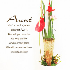 ... Loving Memory Cards For Aunt – You're Not Forgotten Dearest Aunt