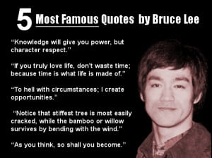There are several Bruce Lee quotes that I like, but these are the ones ...
