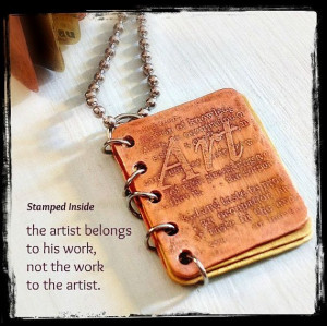 Metal Book Pendant- Artist Quote - Book Necklace - Hand Stamped Copper ...