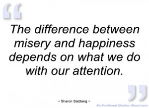 the difference between misery and sharon salzberg