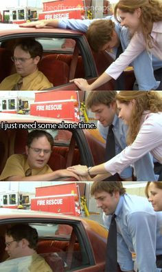 The Office Jim and Pam trying to 'console' Dwight when he's upset over ...