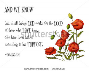 Bible Verse With Red Poppies: Passage from Romans 8:28, along with a ...