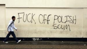 PROFANITY) Anti-Polish graffti adorns a wall in an area popular with ...