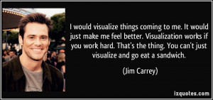 would visualize things coming to me. It would just make me feel better ...