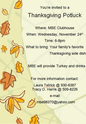 Thanksgiving Luncheon Flyer