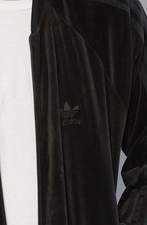 Adidas The Superstar Velour Track Top Jacket in Black in Black for Men