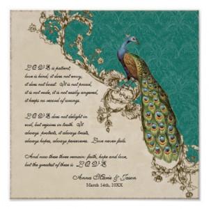 Vintage Peacock & Etchings - Wedding Personalized Print