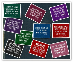 Soccer Quotes Collage in Blue Denim