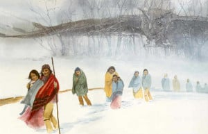 "The one below is titled ""Trail of Tears"" Robert Lindneux, 1942 ..."