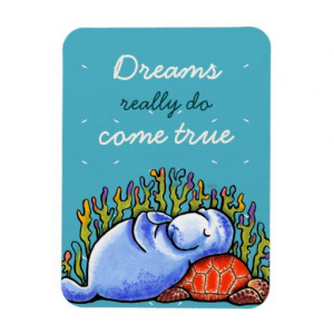 Manatee n Sea Turtle Custom Inspirational Quote Rectangle Magnets ...