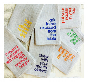 Linen Table Manners Napkins