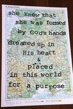 She knew she was formed by God's hands dreamed up in His heart placed ...