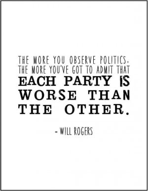 Funny political quote typography print. Will Rogers quote Republicans ...