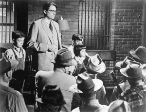 Atticus and the children confront the mob outside the jail