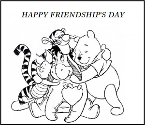 Happy Friendship's Day Winnie The Pooh And Friends Coloring Pages