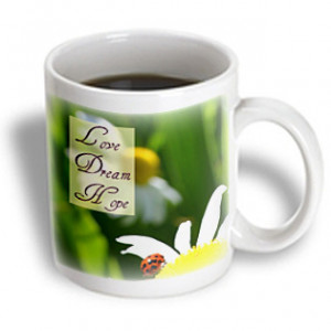... Love Dream Hope Ladybug on a Daisy Inspirational Quotes - 11 oz mug