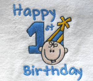 Happy 1st Birthday Boy Personalized embroidered