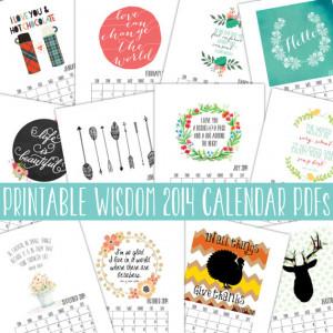 Calendar 2014, Inspirational quotes calendars, quote art print, month ...