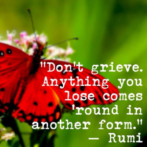 Don't grieve. Anything you lose comes 'round in another form.