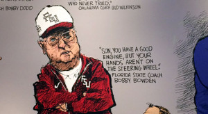 ... Mike Lukovich drew famous coaches with a quote by them. (Jon Solomon