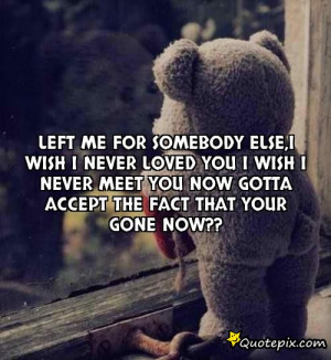 me for somebody else,I wish I never loved you I wish I never meet you ...