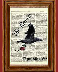 Edgar-Allan-Poe-Dictionary-Art-Raven-Rose-Story-Print-Book-Page-Quote ...