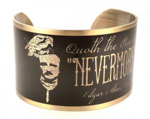Edgar Allan Poe Portrait with Nevermore Quote Cuff, The Raven ...