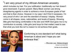 ... , Rhonda Lee, fired for defending her natural hair style on Facebook