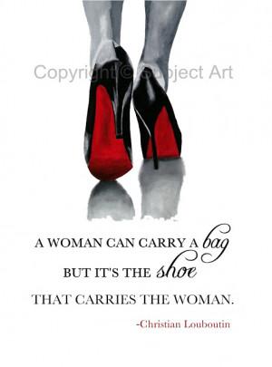 ... LOUBOUTIN Black Shoes ART PRINT, Fashion Quote 10 x 8