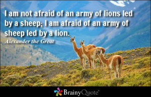 ... afraid of an army of sheep led... - Alexander the Great at BrainyQuote