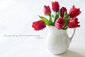 Red Tulips with quote
