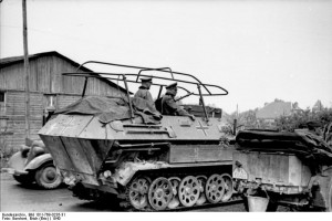 German General Heinz Guderian in a SdKfz. 251/3 halftrack vehicle ...