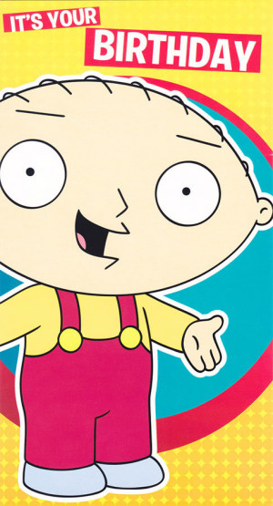 Family Guy Stewie Griffin Birthday Card 5x9