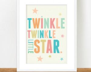 Twinkle Little Star A3 prin t, Nursery Art Poster, Nursery rhyme quote ...