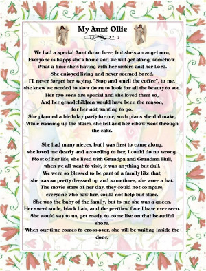 Aunt Poems And Quotes God bless you aunt hilda.