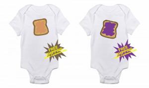 Peanut Butter & Jelly Sandwich Twin Funny Babies / Infants Onesie!