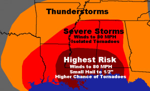The greatest chance for severe weather Tuesday is going to be along ...