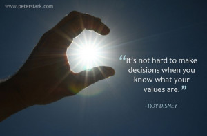 ... when you know what your values are. – Roy Disney | Leadership Quote