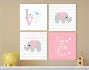 Home / FRAMED CANVAS PRINT LOVE 4 piece set #2 cute elephant bird ...