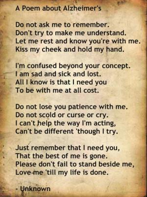 Alzheimer's Poem: Hospice Nursing, Poems I Reading, Alzheimers Poems I ...