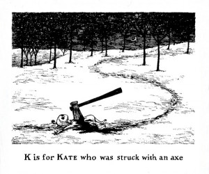 Edward Gorey, K is for Kate who was struck with an axe , from The ...