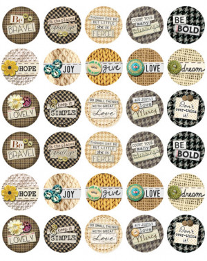 Bottle Cap Images -Cloth and Quotes