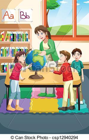 vector illustration of kindergarten teacher and students looking at ...