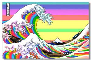 The Great Wave Rainbow Off Katsushika Hokusai Silk Wall Poster 48x32 ...