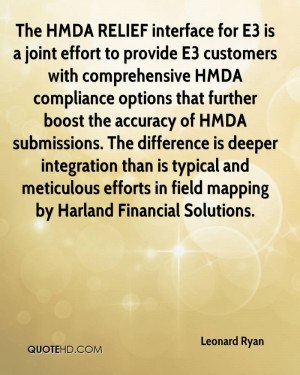 The HMDA RELIEF interface for E3 is a joint effort to provide E3 ...
